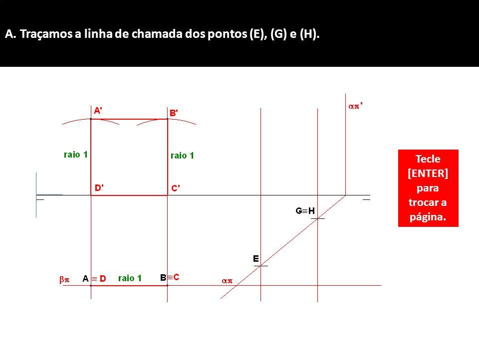 A. Traçamos a linha de chamada dos pontos (E), (G) e (H). Tecle [ENTER] para trocar a página.