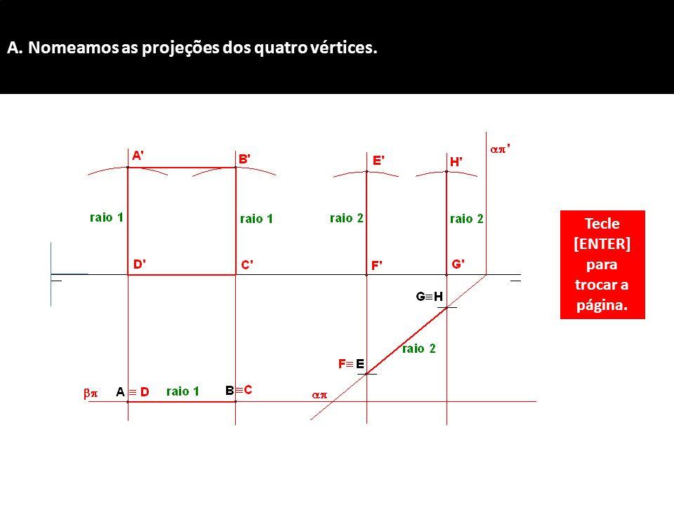 A. Nomeamos as projeções dos quatro vértices. Tecle [ENTER] para trocar a página.