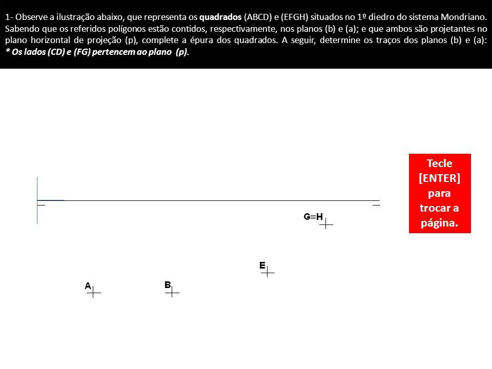1- Observe a ilustração abaixo, que representa os quadrados (ABCD) e (EFGH) situados no 1º diedro do sistema Mondriano.