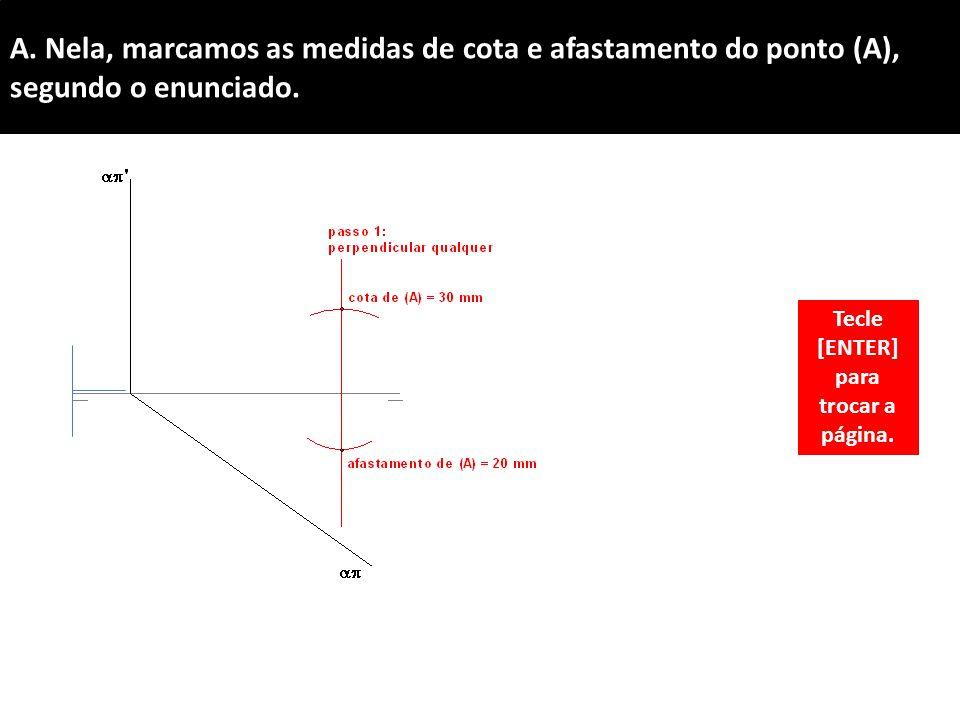 A.Nela, marcamos as medidas de cota e afastamento do ponto (A), segundo o enunciado.