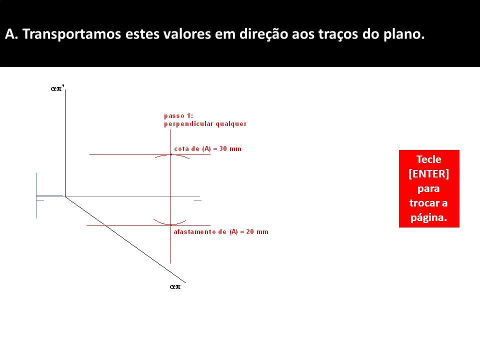 A. Transportamos estes valores em direção aos traços do plano. Tecle [ENTER] para trocar a página.