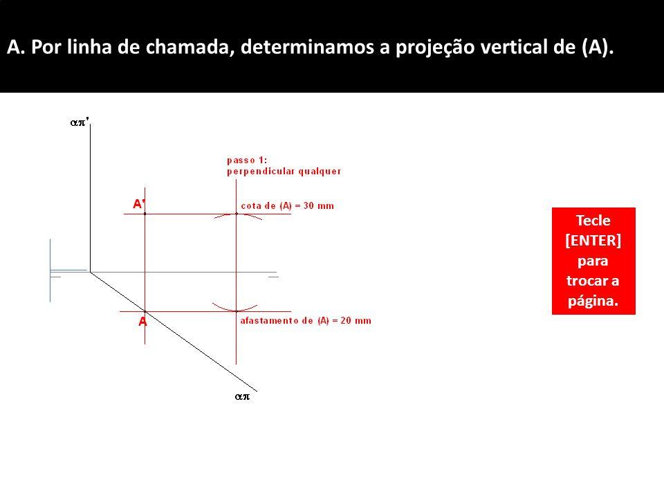 A.Por linha de chamada, determinamos a projeção vertical de (A).