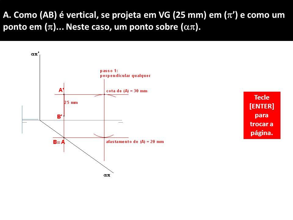 A.Como (AB) é vertical, se projeta em VG (25 mm) em (  ') e como um ponto em (  )...