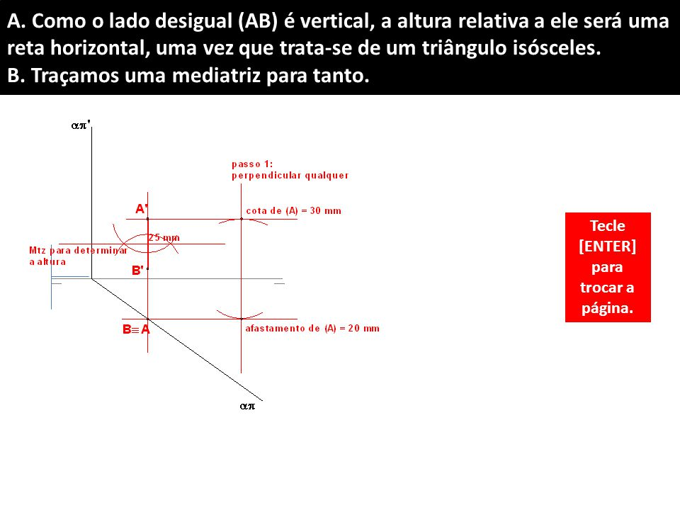 A. Como o lado desigual (AB) é vertical, a altura relativa a ele será uma reta horizontal, uma vez que trata-se de um triângulo isósceles. B. Traçamos