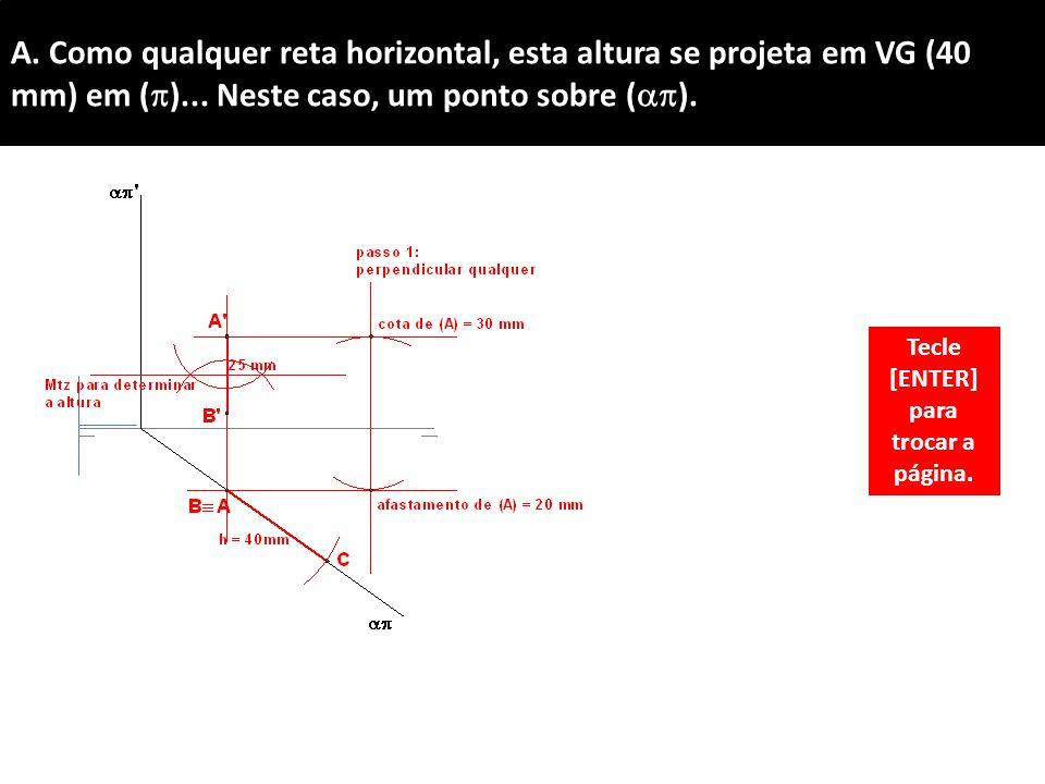 A.Como qualquer reta horizontal, esta altura se projeta em VG (40 mm) em (  )...