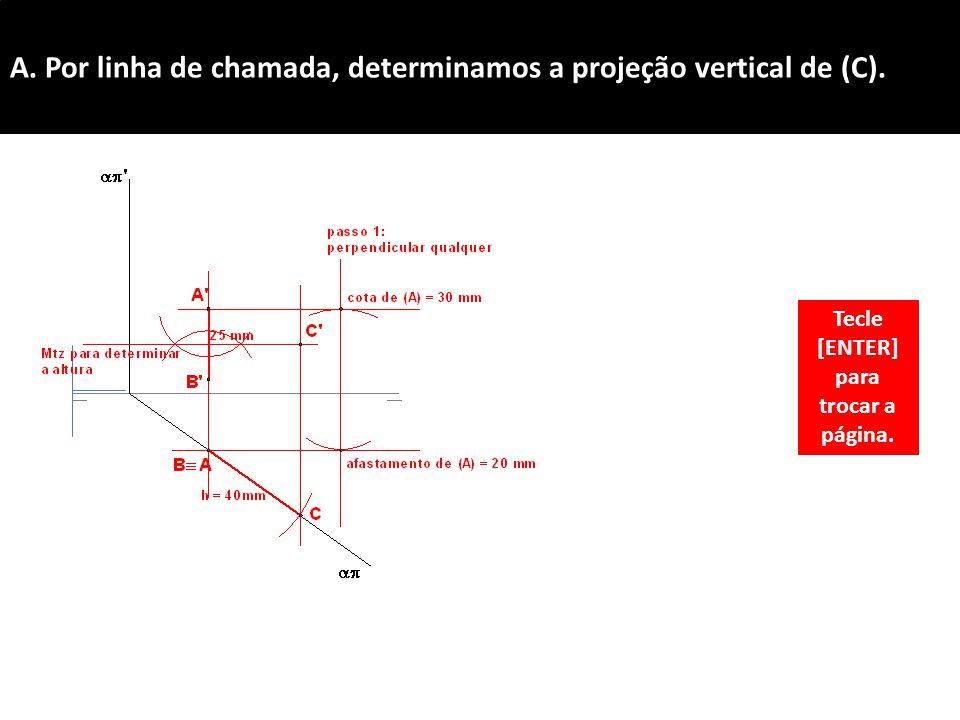 A.Por linha de chamada, determinamos a projeção vertical de (C).