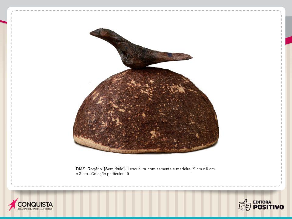 DIAS, Rogério. [Sem título]. 1 escultura com semente e madeira, 9 cm x 8 cm x 8 cm. Coleção particular.10