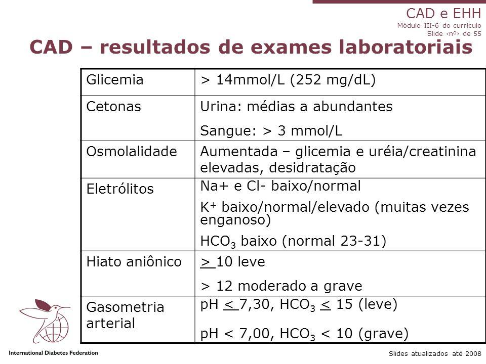 CAD e EHH Módulo III-6 do currículo Slide ‹nº› de 55 Slides atualizados até 2008 CAD – resultados de exames laboratoriais Glicemia> 14mmol/L (252 mg/dL) CetonasUrina: médias a abundantes Sangue: > 3 mmol/L OsmolalidadeAumentada – glicemia e uréia/creatinina elevadas, desidratação Eletrólitos Na+ e Cl- baixo/normal K + baixo/normal/elevado (muitas vezes enganoso) HCO 3 baixo (normal 23-31) Hiato aniônico> 10 leve > 12 moderado a grave Gasometria arterial pH < 7,30, HCO 3 < 15 (leve) pH < 7,00, HCO 3 < 10 (grave)