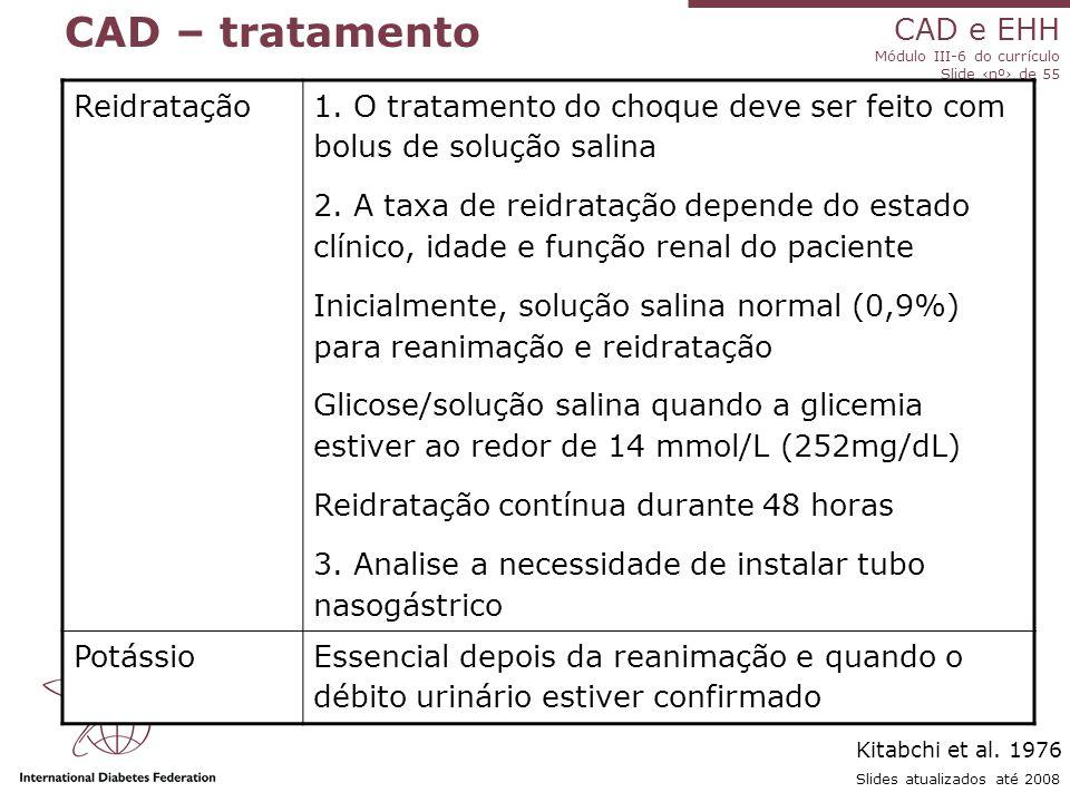 CAD e EHH Módulo III-6 do currículo Slide ‹nº› de 55 Slides atualizados até 2008 CAD – tratamento Reidratação 1.
