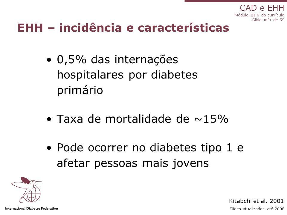 CAD e EHH Módulo III-6 do currículo Slide ‹nº› de 55 Slides atualizados até 2008 EHH – incidência e características 0,5% das internações hospitalares por diabetes primário Taxa de mortalidade de ~15% Pode ocorrer no diabetes tipo 1 e afetar pessoas mais jovens Kitabchi et al.
