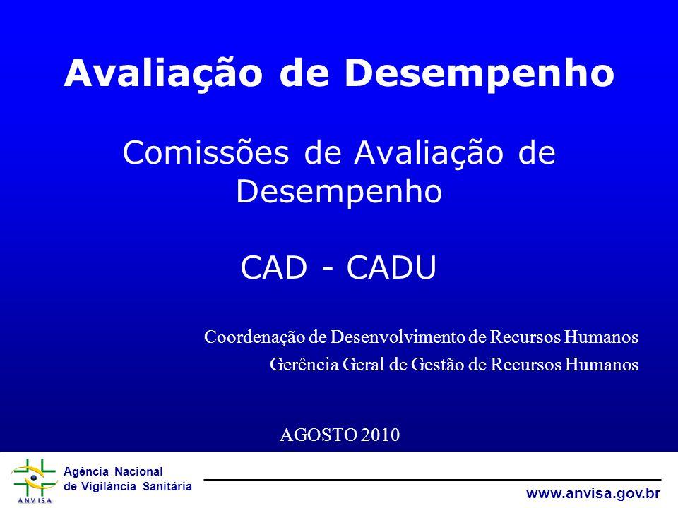 Agência Nacional de Vigilância Sanitária www.anvisa.gov.br Comissão de Avaliação de Desempenho (CAD) Comissão de Avaliação de Desempenho da Unidade (CADU)