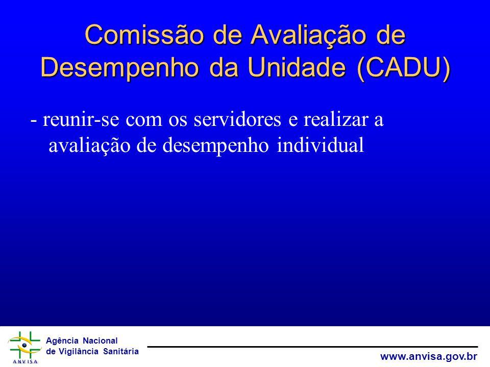 Agência Nacional de Vigilância Sanitária www.anvisa.gov.br Comissão de Avaliação de Desempenho da Unidade (CADU) - reunir-se com os servidores e realizar a avaliação de desempenho individual