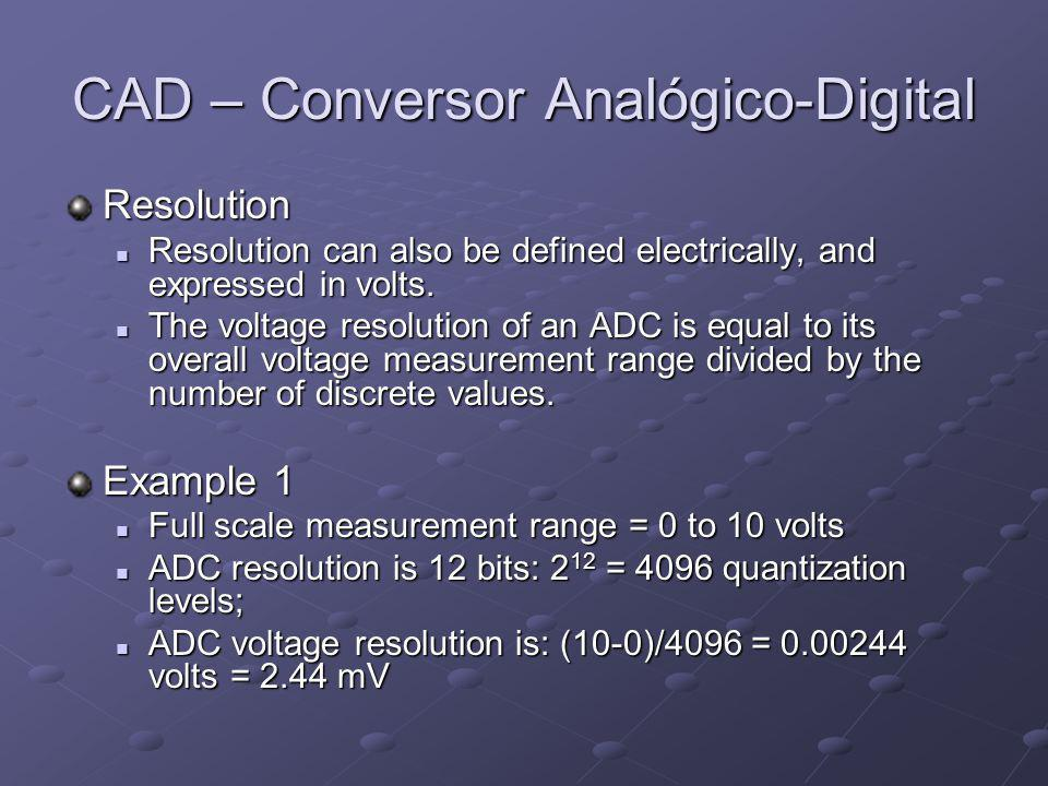 CAD – Conversor Analógico-Digital Example 2 Full scale measurement range = -10 to +10 volts; Full scale measurement range = -10 to +10 volts; ADC resolution is 14 bits: 2 14 = 16384 quantization levels ADC resolution is 14 bits: 2 14 = 16384 quantization levels ADC voltage resolution is: (10-(-10))/16384 = 20/16384 = 0.00122 volts = 1.22 mV ADC voltage resolution is: (10-(-10))/16384 = 20/16384 = 0.00122 volts = 1.22 mV