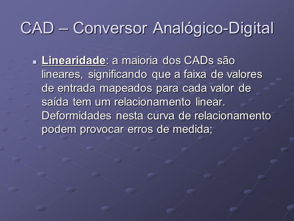 CAD – Conversor Analógico-Digital Linearidade: a maioria dos CADs são lineares, significando que a faixa de valores de entrada mapeados para cada valo