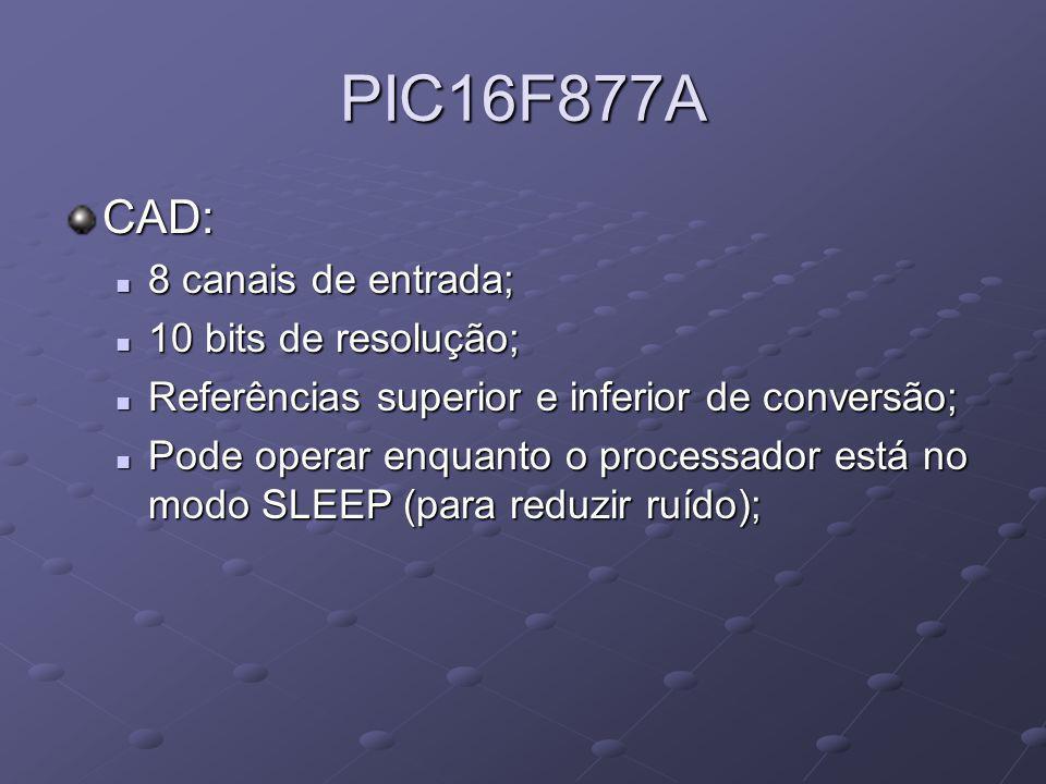 PIC16F877A CAD: 8 canais de entrada; 8 canais de entrada; 10 bits de resolução; 10 bits de resolução; Referências superior e inferior de conversão; Re
