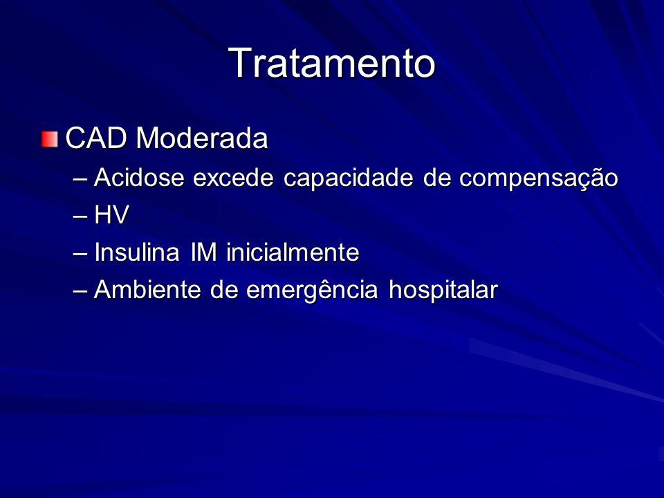 Tratamento CAD Moderada –Acidose excede capacidade de compensação –HV –Insulina IM inicialmente –Ambiente de emergência hospitalar