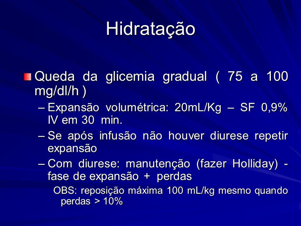 Hidratação Queda da glicemia gradual ( 75 a 100 mg/dl/h ) –Expansão volumétrica: 20mL/Kg – SF 0,9% IV em 30 min. –Se após infusão não houver diurese r