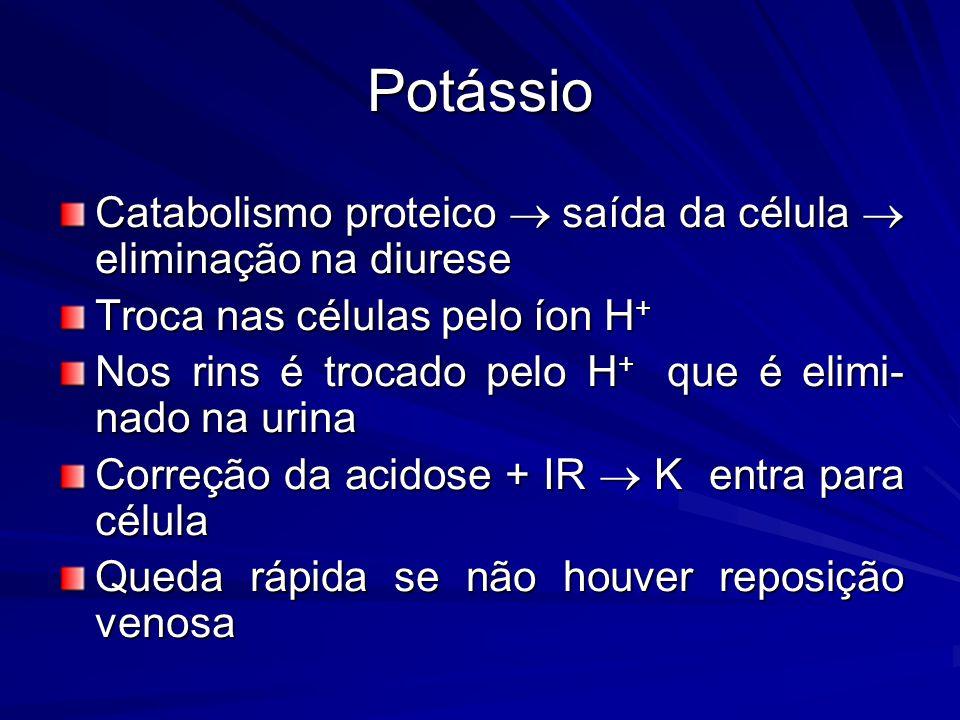 Potássio Catabolismo proteico  saída da célula  eliminação na diurese Troca nas células pelo íon H + Nos rins é trocado pelo H + que é elimi- nado n