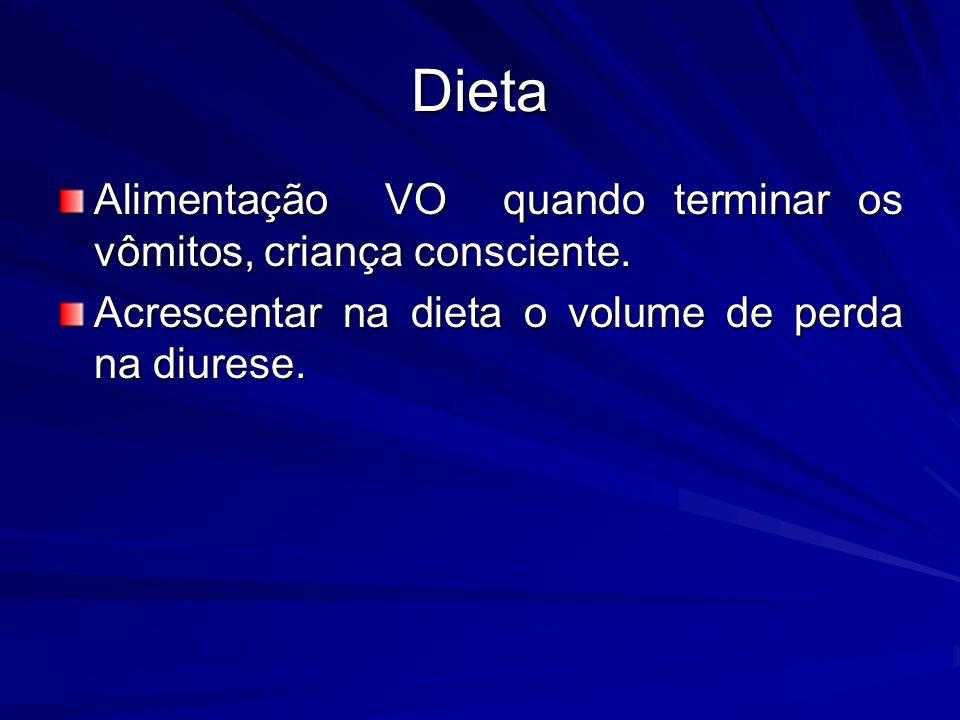 Dieta Alimentação VO quando terminar os vômitos, criança consciente. Acrescentar na dieta o volume de perda na diurese.