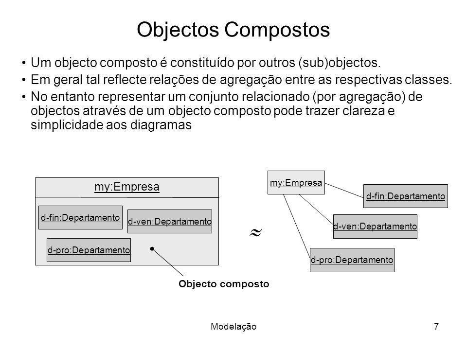 Modelação18 Esquemas Conceptuais Um esquema é a especificação de um modelo usando uma determinada linguagem, a qual pode ser formal, informal (e.g., linguagem natural); de texto, gráfica,...
