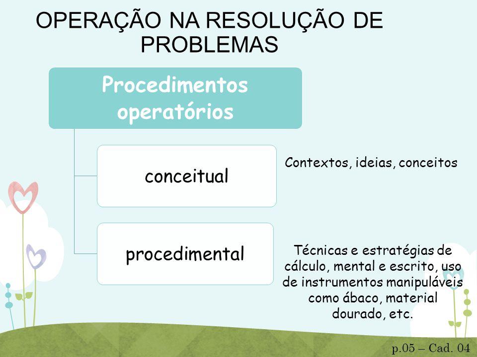 OPERAÇÃO NA RESOLUÇÃO DE PROBLEMAS Procedimentos operatórios conceitualprocedimental Técnicas e estratégias de cálculo, mental e escrito, uso de instr