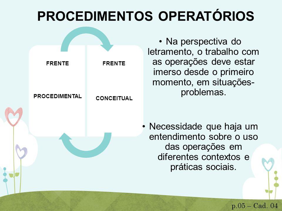 PROCEDIMENTOS OPERATÓRIOS FRENTE PROCEDIMENTAL FRENTE CONCEITUAL Na perspectiva do letramento, o trabalho com as operações deve estar imerso desde o p