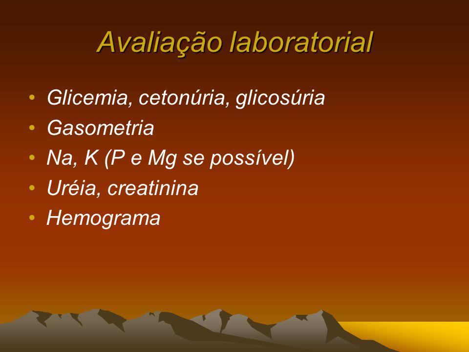 Avaliação laboratorial Glicemia, cetonúria, glicosúria Gasometria Na, K (P e Mg se possível) Uréia, creatinina Hemograma