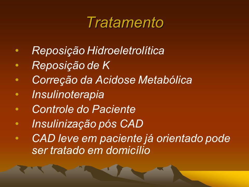Tratamento Reposição Hidroeletrolítica Reposição de K Correção da Acidose Metabólica Insulinoterapia Controle do Paciente Insulinização pós CAD CAD leve em paciente já orientado pode ser tratado em domicílio