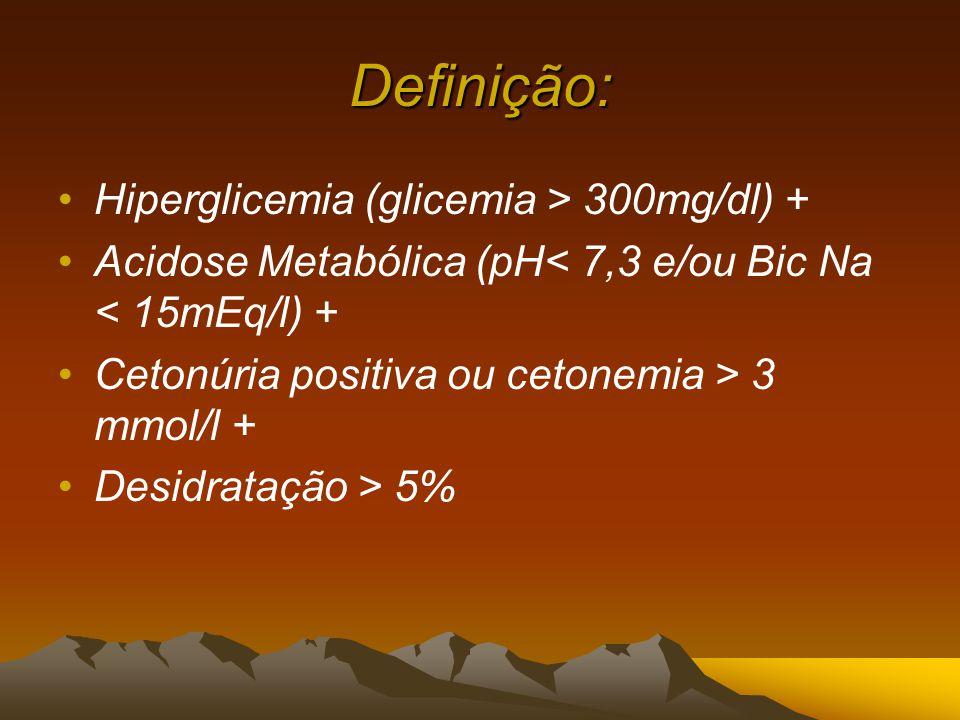 Definição: Hiperglicemia (glicemia > 300mg/dl) + Acidose Metabólica (pH< 7,3 e/ou Bic Na < 15mEq/l) + Cetonúria positiva ou cetonemia > 3 mmol/l + Desidratação > 5%