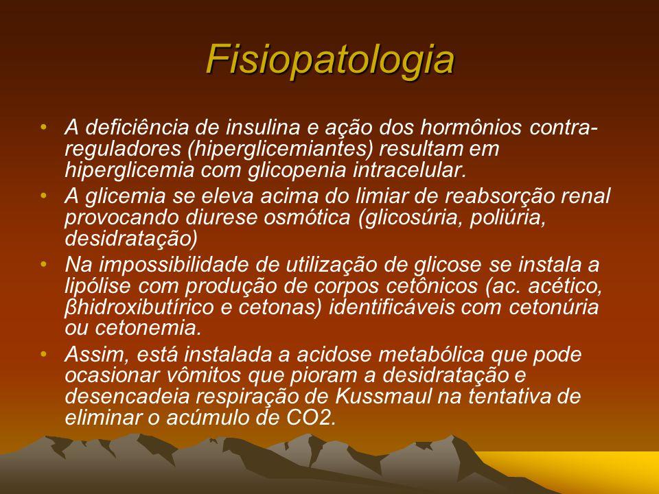 Fisiopatologia A deficiência de insulina e ação dos hormônios contra- reguladores (hiperglicemiantes) resultam em hiperglicemia com glicopenia intracelular.