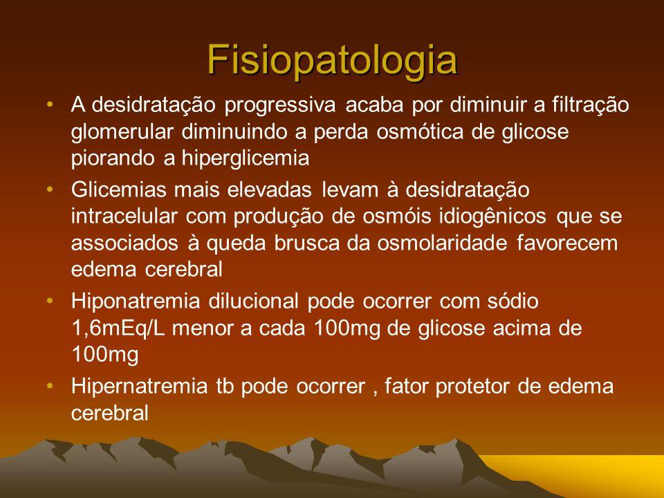Fisiopatologia A desidratação progressiva acaba por diminuir a filtração glomerular diminuindo a perda osmótica de glicose piorando a hiperglicemia Glicemias mais elevadas levam à desidratação intracelular com produção de osmóis idiogênicos que se associados à queda brusca da osmolaridade favorecem edema cerebral Hiponatremia dilucional pode ocorrer com sódio 1,6mEq/L menor a cada 100mg de glicose acima de 100mg Hipernatremia tb pode ocorrer, fator protetor de edema cerebral