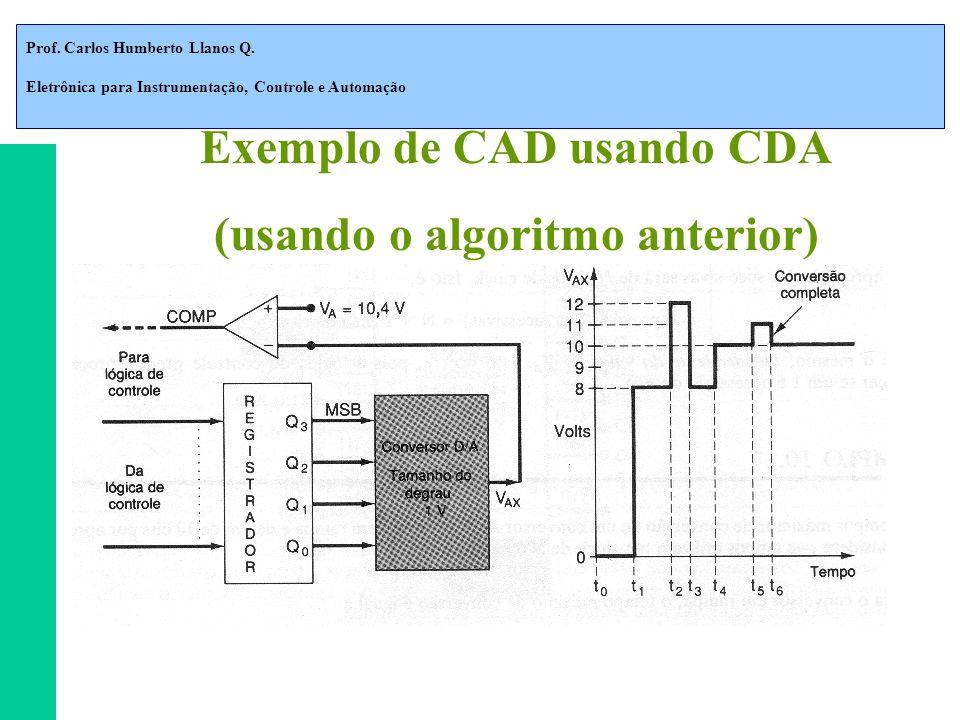 Prof. Carlos Humberto Llanos Q. Eletrônica para Instrumentação, Controle e Automação Exemplo de CAD usando CDA (usando o algoritmo anterior)