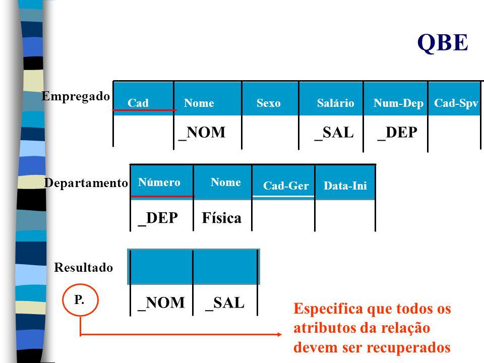 QBE n Operação de Junção: –Usando a mesma variável nas colunas a serem juntadas.