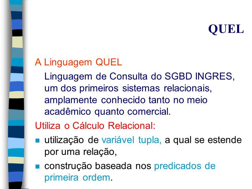QBE Junção recursiva: Usa-se variáveis distintas para representar as diferentes referências à tabela.