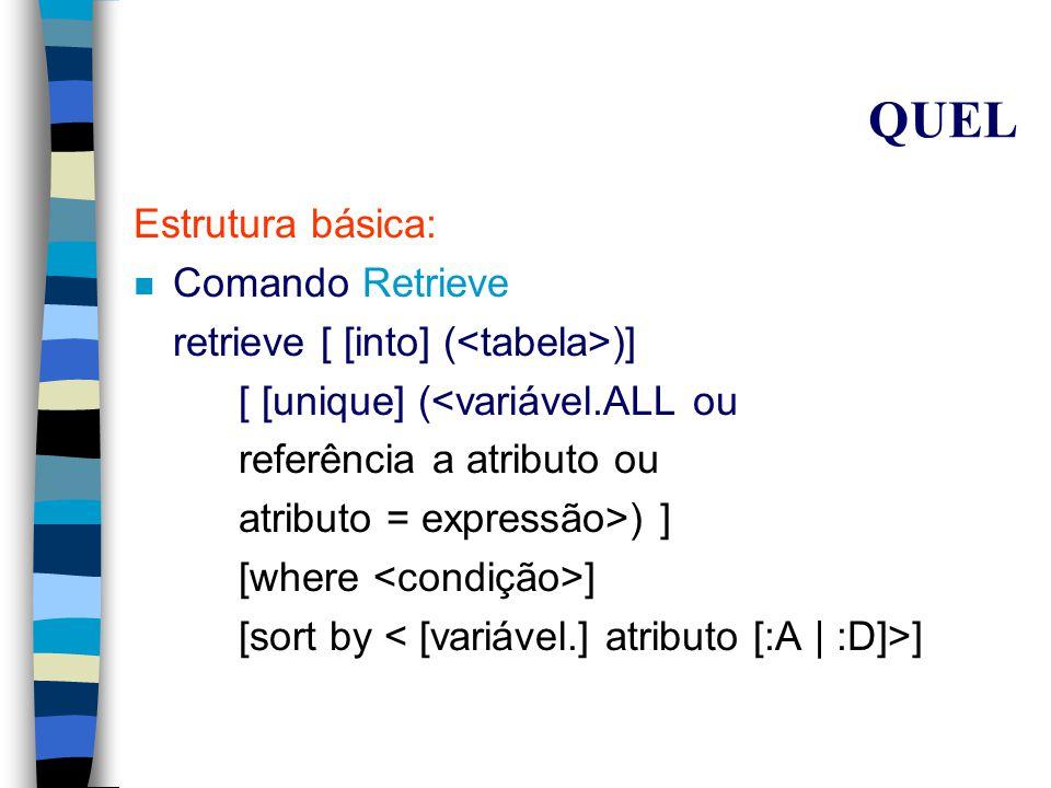 QUEL Estrutura básica: n Comando Range range of t is r onde: –t é uma variável tupla, restrita a assumir valores de tuplas na relação r –r é uma relação Exemplo: range of P is Produto
