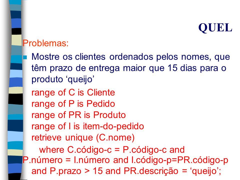 QUEL Problemas: n Mostrar a quantidade total pedida para o produto VINHO de código 78 range of R is item-do-pedido retrieve (Z = sum(R.quantidade)) where R.código-p = 78; n Quais os clientes que fizeram pedidos.