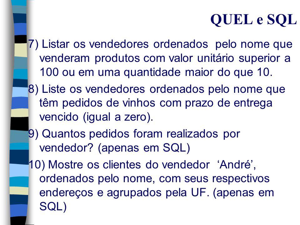 QUEL e SQL Exercícios: 1) Listar todo o conteúdo da tabela produto 2) Listar os produtos que tenham unidade igual a M e valor unitário igual a 1,05 3) Quais os clientes que fizeram pedidos.