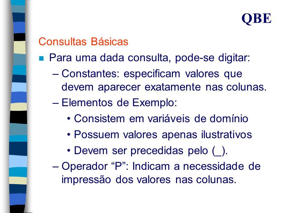 QBE A Linguagem QBE (Cont.) n Constantes e variáveis são digitadas nas colunas dos templates para construção de um exemplo.