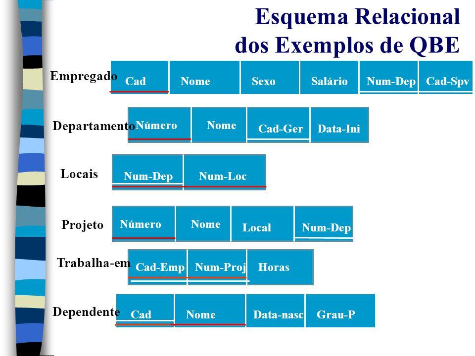 QBE Consultas Básicas n Para uma dada consulta, pode-se digitar: –Constantes: especificam valores que devem aparecer exatamente nas colunas.
