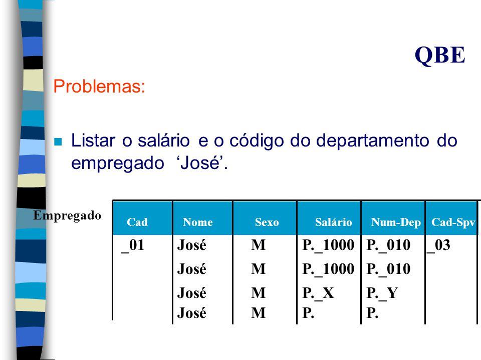 Esquema Relacional dos Exemplos de QBE Num-DepNum-Loc Locais Trabalha-em Cad-EmpNum-ProjHoras Empregado CadNomeSexoSalárioNum-DepCad-Spv Departamento NúmeroNome Cad-GerData-IniCadNomeData-nascGrau-P Dependente Projeto NúmeroNome LocalNum-Dep