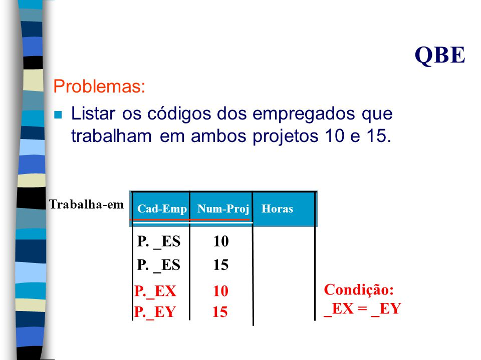 QBE Problemas: n Listar os códigos dos empregados que trabalham em ambos projetos 10 e 15.