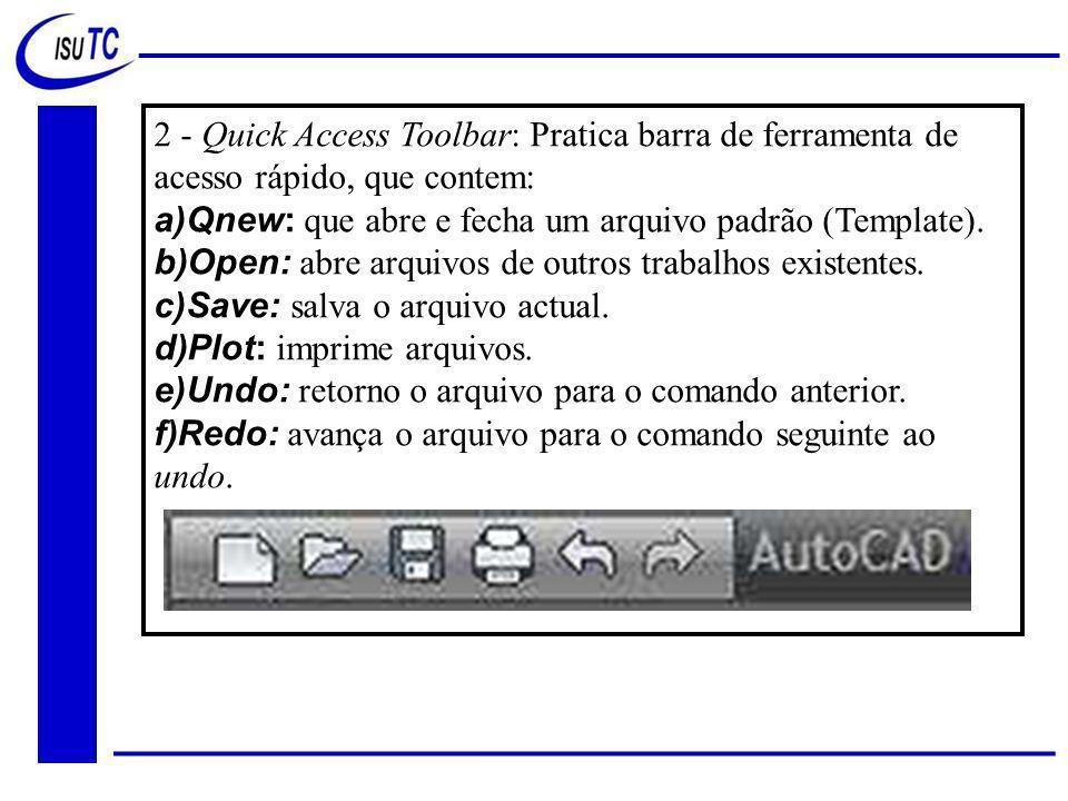 2 - Quick Access Toolbar: Pratica barra de ferramenta de acesso rápido, que contem: a)Qnew: que abre e fecha um arquivo padrão (Template).