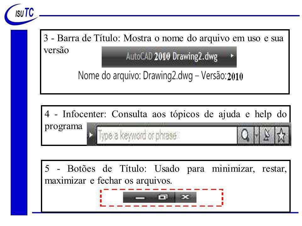 3 - Barra de Título: Mostra o nome do arquivo em uso e sua versão 4 - Infocenter: Consulta aos tópicos de ajuda e help do programa 5 - Botões de Título: Usado para minimizar, restar, maximizar e fechar os arquivos.