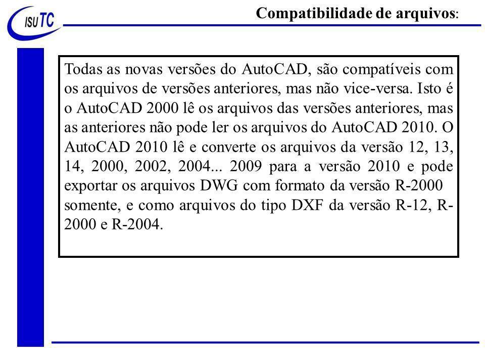 Todas as novas versões do AutoCAD, são compatíveis com os arquivos de versões anteriores, mas não vice-versa.
