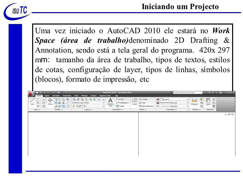 Uma vez iniciado o AutoCAD 2010 ele estará no Work Space (área de trabalho)denominado 2D Drafting & Annotation, sendo está a tela geral do programa.