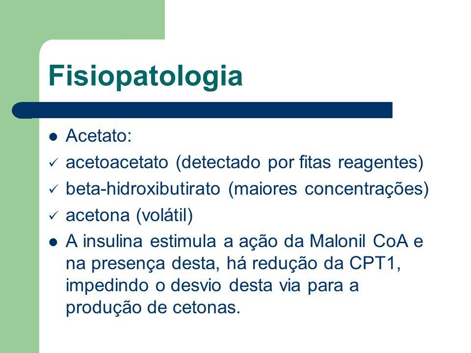 Fisiopatologia Acetato: acetoacetato (detectado por fitas reagentes) beta-hidroxibutirato (maiores concentrações) acetona (volátil) A insulina estimula a ação da Malonil CoA e na presença desta, há redução da CPT1, impedindo o desvio desta via para a produção de cetonas.