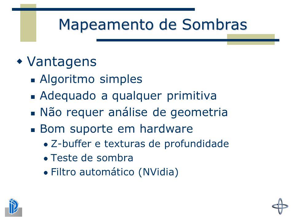 Mapeamento de Sombras  Vantagens Algoritmo simples Adequado a qualquer primitiva Não requer análise de geometria Bom suporte em hardware Z-buffer e texturas de profundidade Teste de sombra Filtro automático (NVidia)