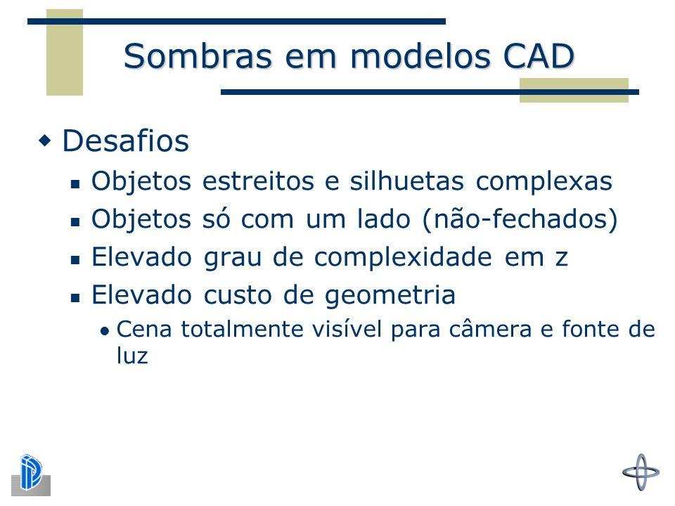 Sombras em modelos CAD  Desafios Objetos estreitos e silhuetas complexas Objetos só com um lado (não-fechados) Elevado grau de complexidade em z Elevado custo de geometria Cena totalmente visível para câmera e fonte de luz