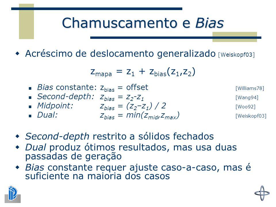 Chamuscamento e Bias  Acréscimo de deslocamento generalizado [Weiskopf03] z mapa = z 1 + z bias (z 1,z 2 ) Bias constante: z bias = offset [Williams78] Second-depth: z bias = z 2 -z 1 [Wang94] Midpoint: z bias = (z 2 –z 1 ) / 2 [Woo92] Dual: z bias = min(z mid,z max ) [Weiskopf03]  Second-depth restrito a sólidos fechados  Dual produz ótimos resultados, mas usa duas passadas de geração  Bias constante requer ajuste caso-a-caso, mas é suficiente na maioria dos casos