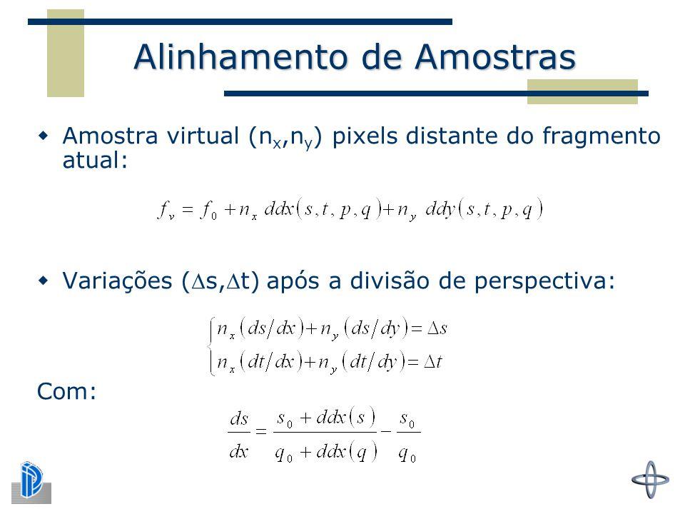 Alinhamento de Amostras  Amostra virtual (n x,n y ) pixels distante do fragmento atual:  Variações (s,t) após a divisão de perspectiva: Com: